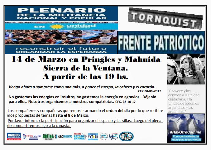Unidad Ciudadana realizará un plenario en Sierra de la Ventana